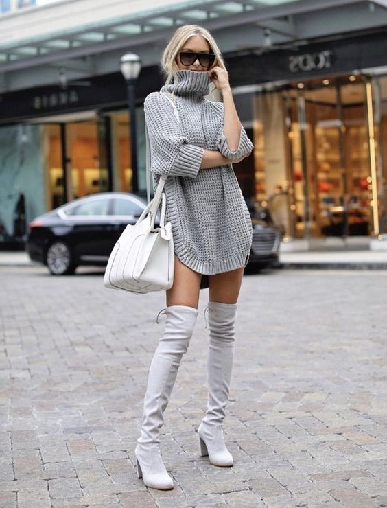 How To Wear Dress And Over The Knee Boots: My Favorite Street Looks 2019