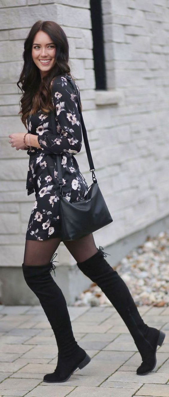 How To Wear Dress And Over The Knee Boots: My Favorite Street Looks 2021