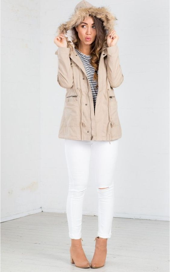 Ladies Beige Parka